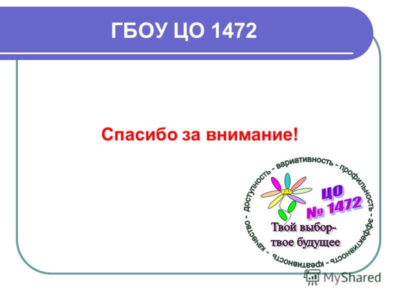 ГБОУ ЦО 1472 Спасибо за внимание!