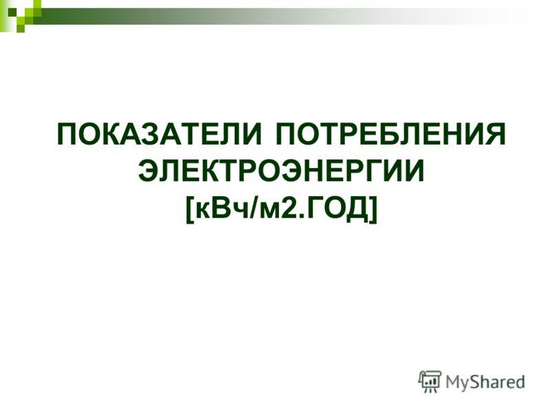 ПОКАЗАТЕЛИ ПОТРЕБЛЕНИЯ ЭЛЕКТРОЭНЕРГИИ [кВч/м2.ГОД]