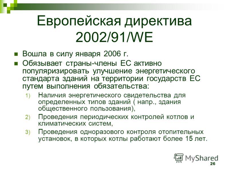Европейская директива 2002/91/WE Вошла в силу января 2006 г. Обязывает страны-члены ЕС активно популяризировать улучшение энергетического стандарта зданий на территории государств ЕС путем выполнения обязательства: 1) Наличия энергетического свидетел