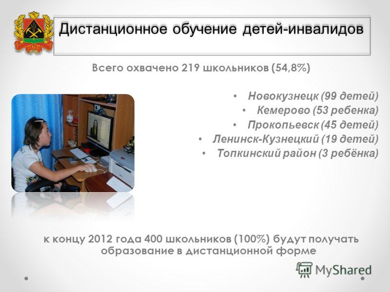 Всего охвачено 219 школьников (54,8%) Новокузнецк (99 детей) Кемерово (53 ребенка) Прокопьевск (45 детей) Ленинск-Кузнецкий (19 детей) Топкинский район (3 ребёнка) к концу 2012 года 400 школьников (100%) будут получать образование в дистанционной фор