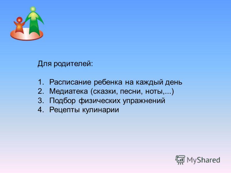 Для родителей: 1.Расписание ребенка на каждый день 2.Медиатека (сказки, песни, ноты,...) 3.Подбор физических упражнений 4.Рецепты кулинарии