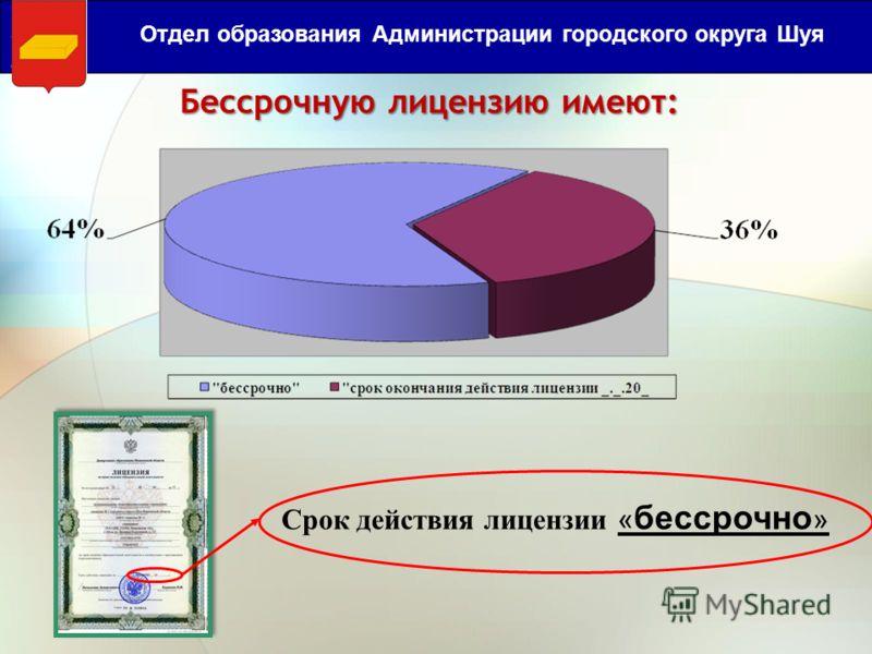 Бессрочную лицензию имеют: Отдел образования Администрации городского округа Шуя Срок действия лицензии « бессрочно »