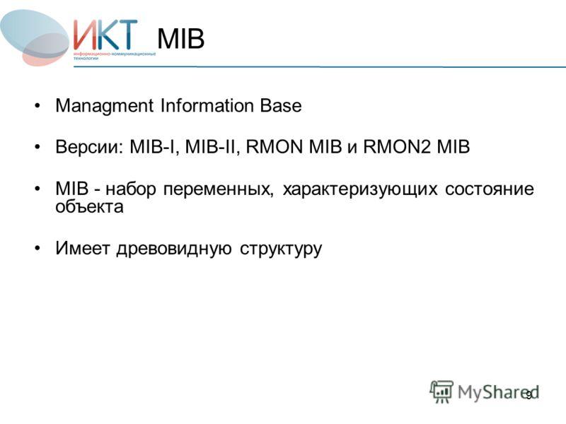 9 Managment Information Base Версии: MIB-I, MIB-II, RMON MIB и RMON2 MIB MIB - набор переменных, характеризующих состояние объекта Имеет древовидную структуру MIB