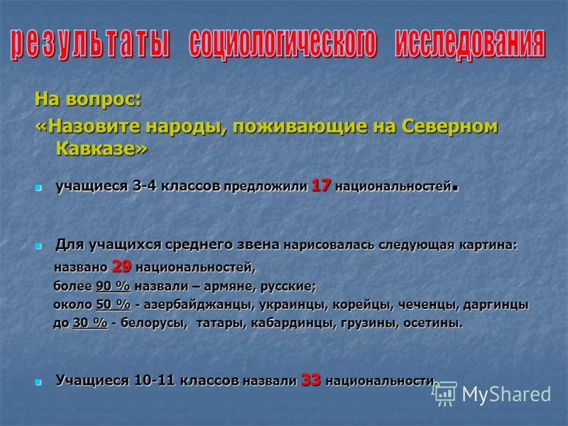 На вопрос: «Назовите народы, поживающие на Северном Кавказе» учащиеся 3-4 классов предложили 17 национальностей. учащиеся 3-4 классов предложили 17 национальностей. Для учащихся среднего звена нарисовалась следующая картина: Для учащихся среднего зве