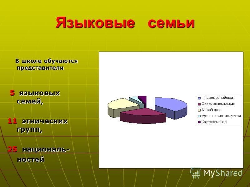 Языковые семьи В школе обучаются представители 5 языковых семей, 11 э э э этнических групп, 25 н н н националь- ностей