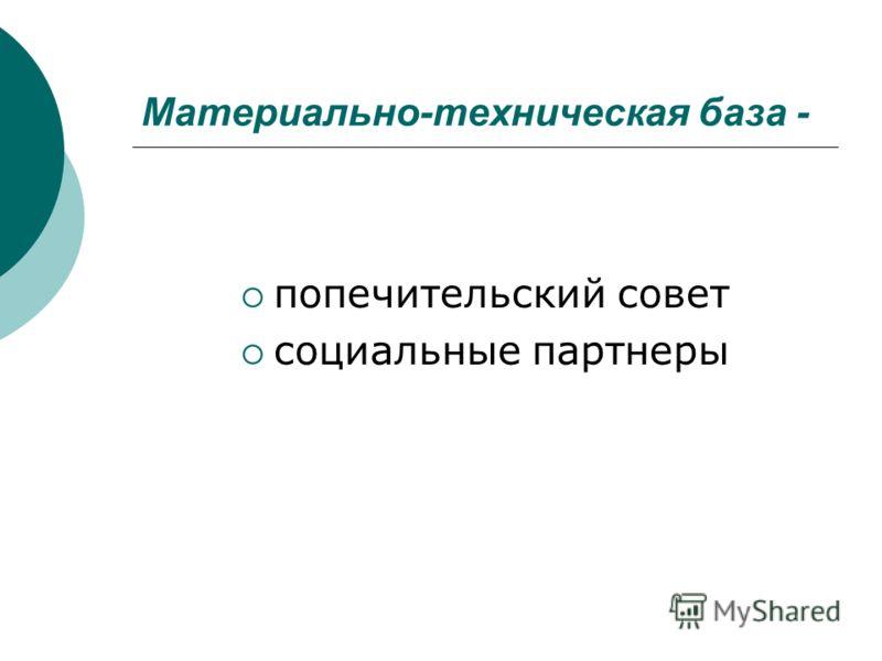 Материально-техническая база - попечительский совет социальные партнеры