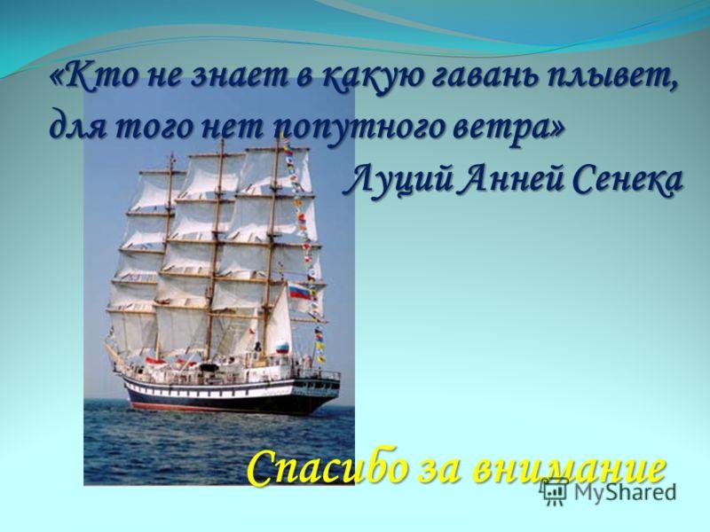 «Кто не знает в какую гавань плывет, для того нет попутного ветра» Луций Анней Сенека Спасибо за внимание