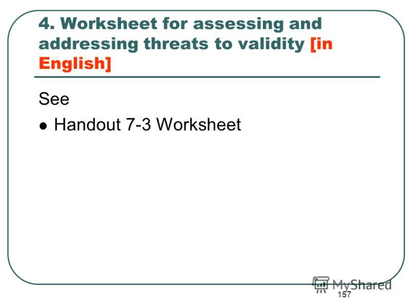 156 Угрозы внешней валидности Предположения о том, как результаты оценки могут быть использованы в других местах, могут быть ошибочными. Некоторые важные характеристики проекта могут быть не до конца поняты. Важные характеристики участников проекта м