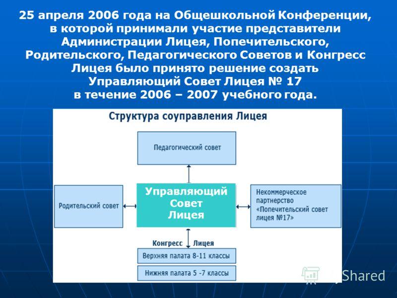 25 апреля 2006 года на Общешкольной Конференции, в которой принимали участие представители Администрации Лицея, Попечительского, Родительского, Педагогического Советов и Конгресс Лицея было принято решение создать Управляющий Совет Лицея 17 в течение