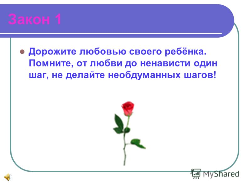 Закон 1 Дорожите любовью своего ребёнка. Помните, от любви до ненависти один шаг, не делайте необдуманных шагов!