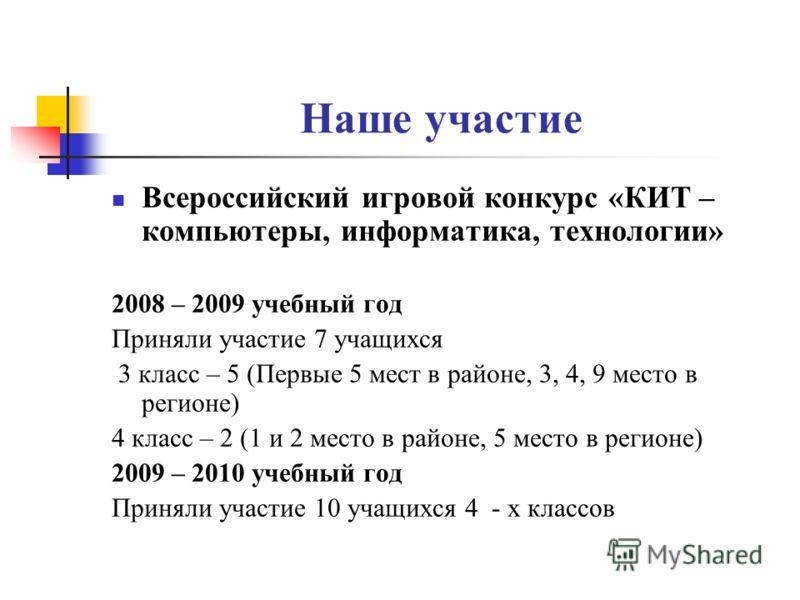 Наше участие Всероссийский игровой конкурс «КИТ – компьютеры, информатика, технологии» 2008 – 2009 учебный год Приняли участие 7 учащихся 3 класс – 5 (Первые 5 мест в районе, 3, 4, 9 место в регионе) 4 класс – 2 (1 и 2 место в районе, 5 место в регио