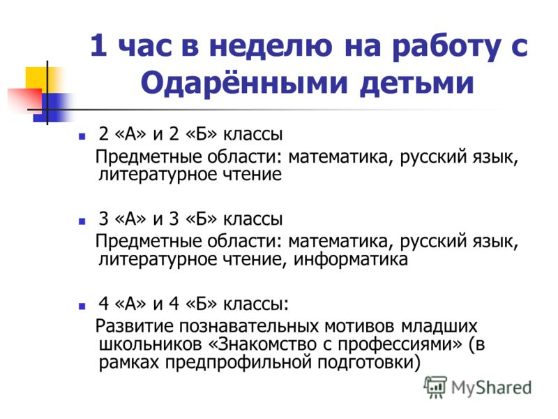 1 час в неделю на работу с Одарёнными детьми 2 «А» и 2 «Б» классы Предметные области: математика, русский язык, литературное чтение 3 «А» и 3 «Б» классы Предметные области: математика, русский язык, литературное чтение, информатика 4 «А» и 4 «Б» клас