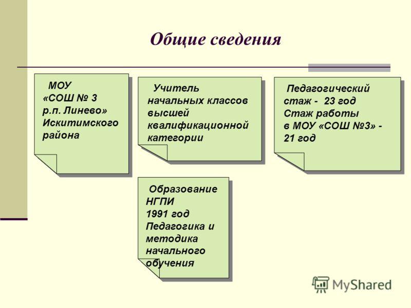 Общие сведения Образование НГПИ 1991 год Педагогика и методика начального обучения Образование НГПИ 1991 год Педагогика и методика начального обучения