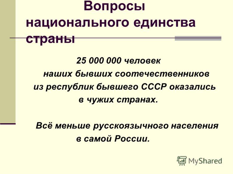 Вопросы национального единства страны 25 000 000 человек наших бывших соотечественников из республик бывшего СССР оказались в чужих странах. Всё меньше русскоязычного населения в самой России.
