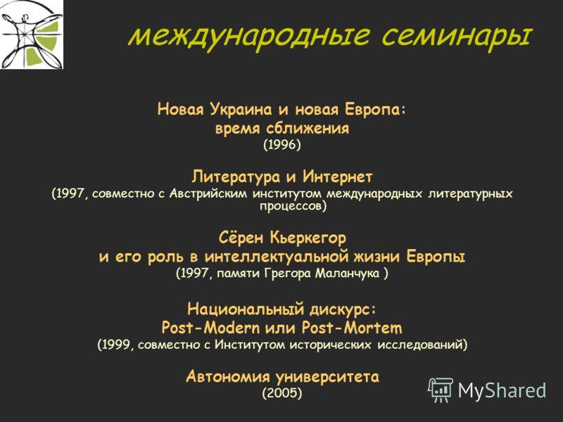 международные семинары Новая Украина и новая Европа: время сближения (1996) Литература и Интернет (1997, совместно с Австрийским институтом международных литературных процессов) Сёрен Кьеркегор и его роль в интеллектуальной жизни Европы (1997, памяти