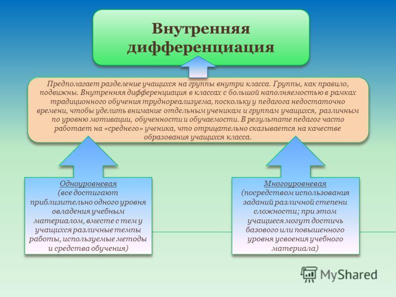Внутренняя дифференциация Предполагает разделение учащихся на группы внутри класса. Группы, как правило, подвижны. Внутренняя дифференциация в классах