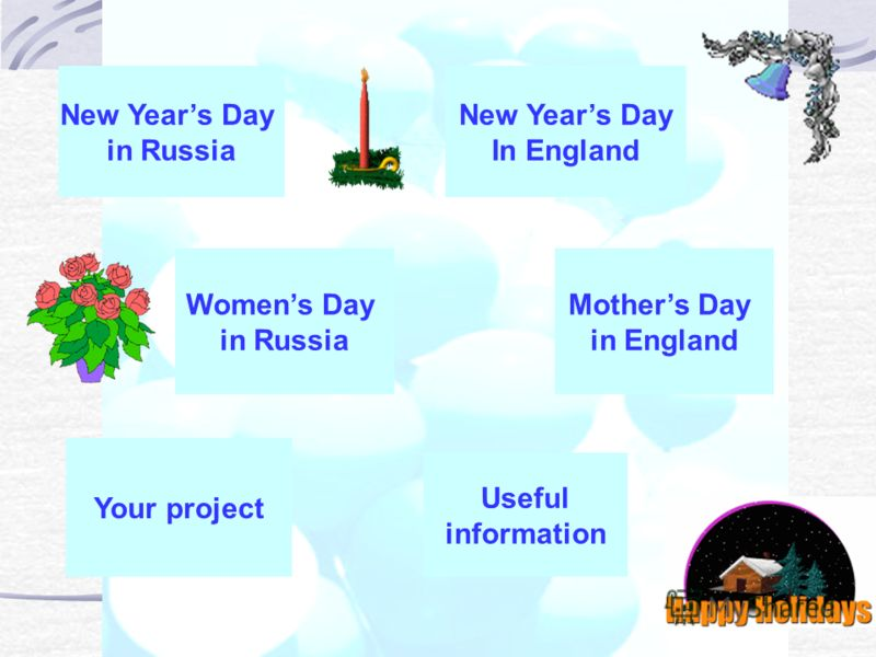 New Years Day in Russia New Years Day In England Womens Day in Russia Mothers Day in England Your project Useful information