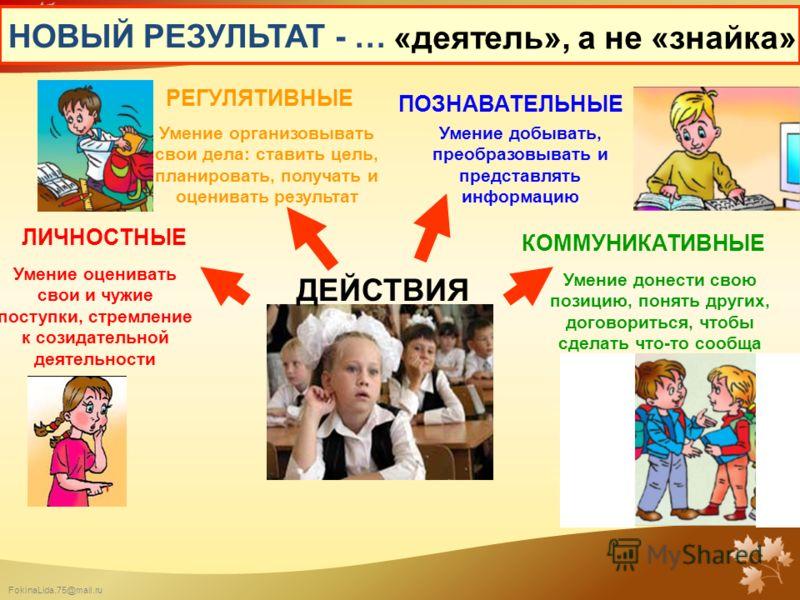 FokinaLida.75@mail.ru НОВЫЙ РЕЗУЛЬТАТ - … Умение оценивать свои и чужие поступки, стремление к созидательной деятельности Умение добывать, преобразовывать и представлять информацию Умение донести свою позицию, понять других, договориться, чтобы сдела