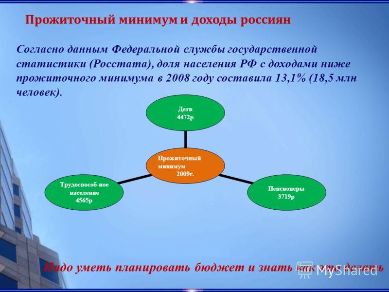 Прожиточный минимум и доходы россиян Согласно данным Федеральной службы государственной статистики (Росстата), доля населения РФ с доходами ниже прожиточного минимума в 2008 году составила 13,1% (18,5 млн человек). Прожиточный минимум 2009г. Дети 447