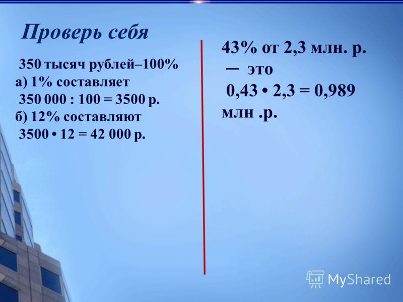 350 тысяч рублей–100% а) 1% составляет 350 000 : 100 = 3500 р. б) 12% составляют 3500 12 = 42 000 р. Проверь себя 43% от 2,3 млн. р. это 0,43 2,3 = 0,989 млн.р.