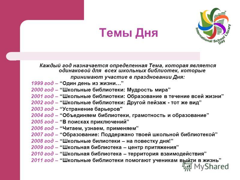 Темы Дня Каждый год назначается определенная Тема, которая является одинаковой для всех школьных библиотек, которые принимают участие в праздновании Дня: 1999 год – Один день из жизни… 2000 год – Школьные библиотеки: Мудрость мира 2001 год – Школьные