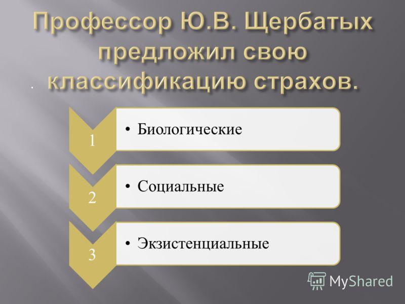 . 1 Биологические 2 Социальные 3 Экзистенциальные