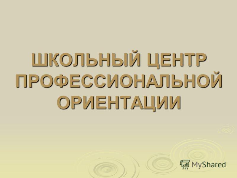 ШКОЛЬНЫЙ ЦЕНТР ПРОФЕССИОНАЛЬНОЙ ОРИЕНТАЦИИ