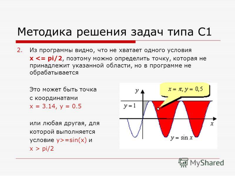 Методика решения задач типа С1 2.Из программы видно, что не хватает одного условия x =sin(x) и x > pi/2