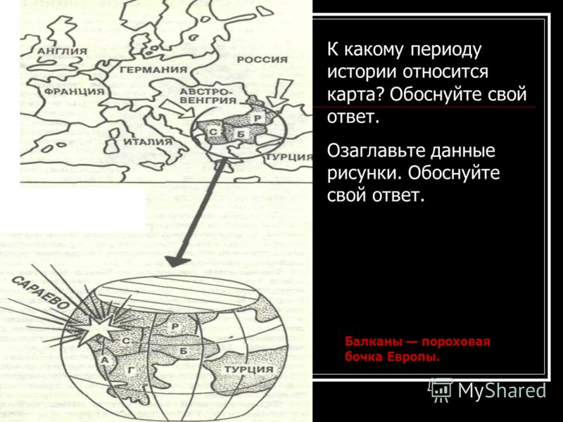К какому периоду истории относится карта? Обоснуйте свой ответ. Озаглавьте данные рисунки. Обоснуйте свой ответ. Балканы пороховая бочка Европы.