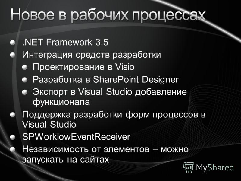 .NET Framework 3.5 Интеграция средств разработки Проектирование в Visio Разработка в SharePoint Designer Экспорт в Visual Studio добавление функционала Поддержка разработки форм процессов в Visual Studio SPWorklowEventReceiver Независимость от элемен