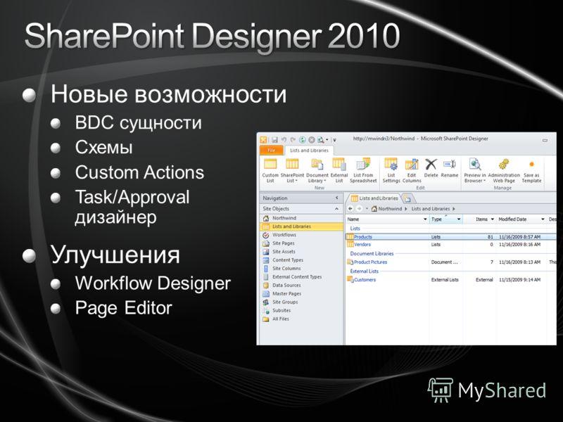 Новые возможности BDC сущности Схемы Custom Actions Task/Approval дизайнер Улучшения Workflow Designer Page Editor
