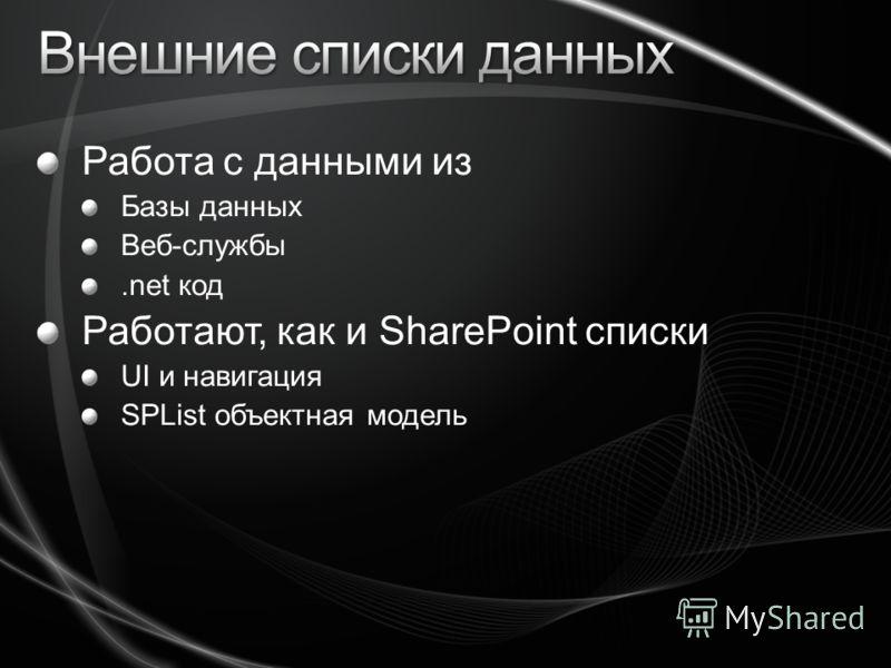 Работа с данными из Базы данных Веб-службы.net код Работают, как и SharePoint списки UI и навигация SPList объектная модель