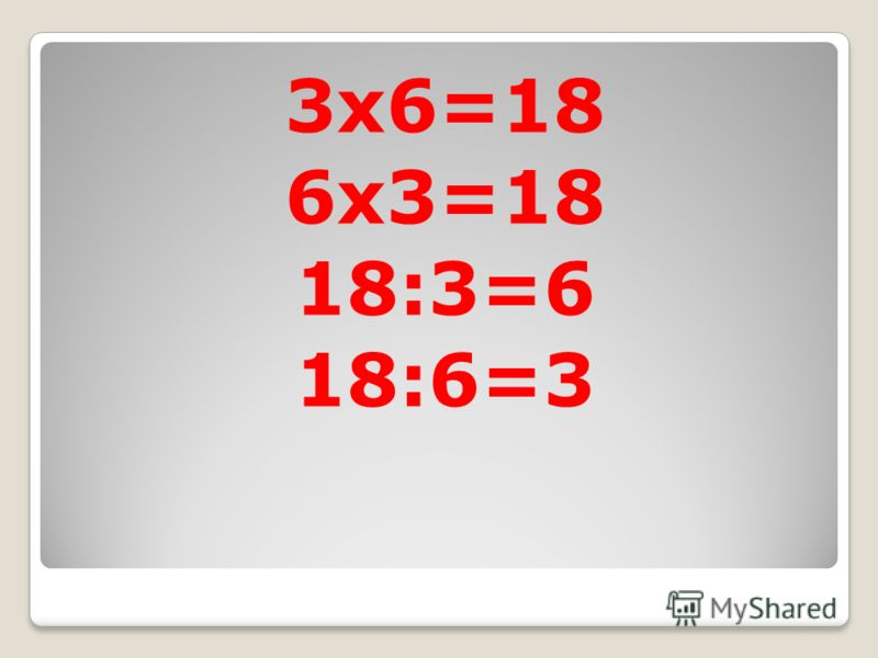 3x6=18 6x3=18 18:3=6 18:6=3