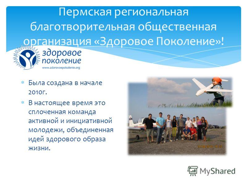 Пермская региональная благотворительная общественная организация «Здоровое Поколение»! Была создана в начале 2010г. В настоящее время это сплоченная команда активной и инициативной молодежи, объединенная идей здорового образа жизни.