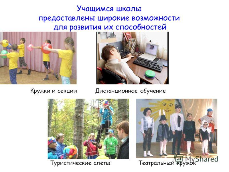 Учащимся школы предоставлены широкие возможности для развития их способностей Туристические слетыТеатральный кружок Кружки и секцииДистанционное обучение