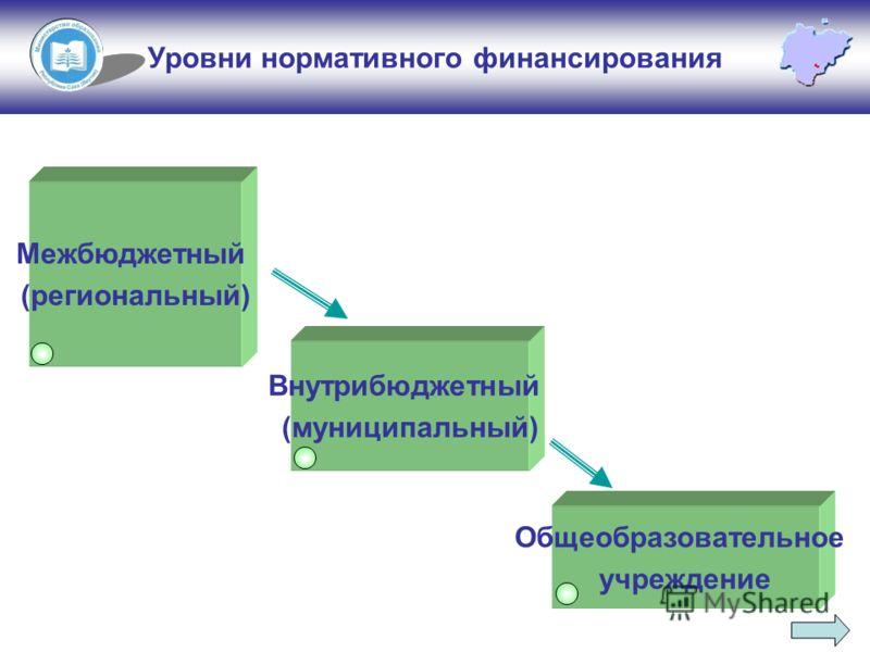 Уровни нормативного финансирования Межбюджетный (региональный) Внутрибюджетный (муниципальный) Общеобразовательное учреждение