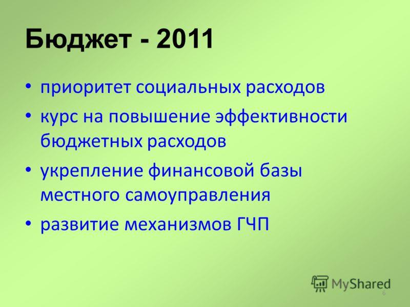 6 Бюджет - 2011 приоритет социальных расходов курс на повышение эффективности бюджетных расходов укрепление финансовой базы местного самоуправления развитие механизмов ГЧП