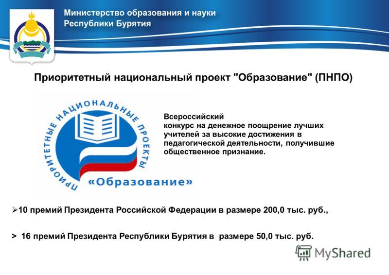 10 премий Президента Российской Федерации в размере 200,0 тыс. руб., > 16 премий Президента Республики Бурятия в размере 50,0 тыс. руб. Приоритетный национальный проект