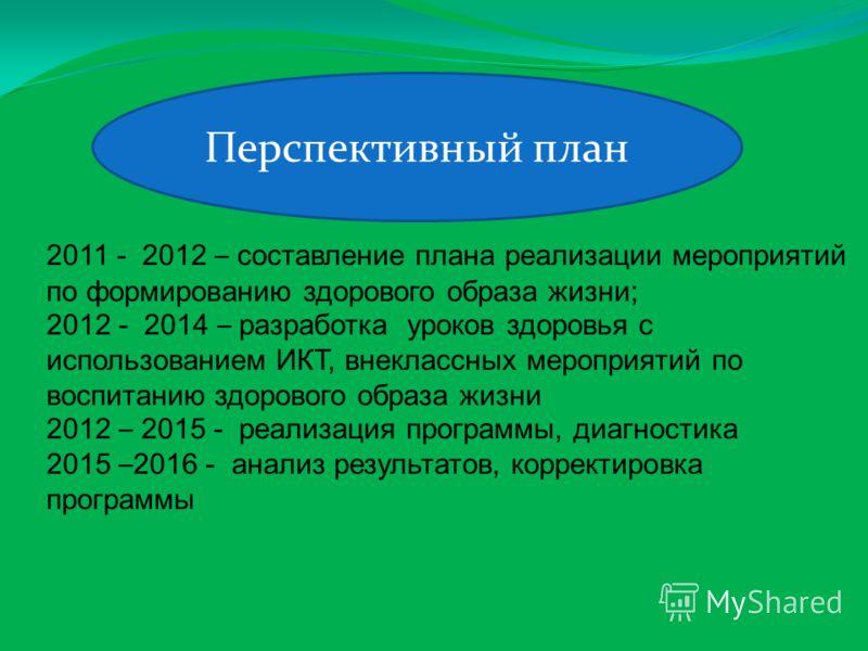 2011 - 2012 – составление плана реализации мероприятий по формированию здорового образа жизни; 2012 - 2014 – разработка уроков здоровья с использованием ИКТ, внеклассных мероприятий по воспитанию здорового образа жизни 2012 – 2015 - реализация програ