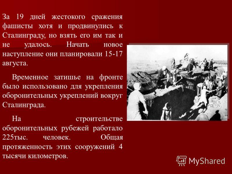 За 19 дней жестокого сражения фашисты хотя и продвинулись к Сталинграду, но взять его им так и не удалось. Начать новое наступление они планировали 15-17 августа. Временное затишье на фронте было использовано для укрепления оборонительных укреплений