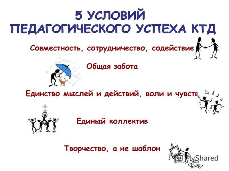 Совместность, сотрудничество, содействие Общая забота Единство мыслей и действий, воли и чувств Единый коллектив Творчество, а не шаблон