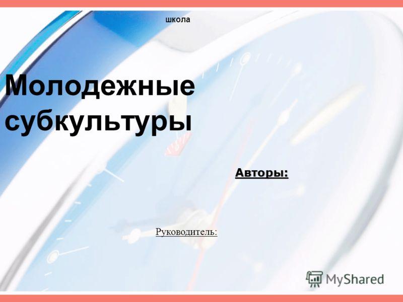 Молодежные субкультуры Авторы: школа Руководитель: