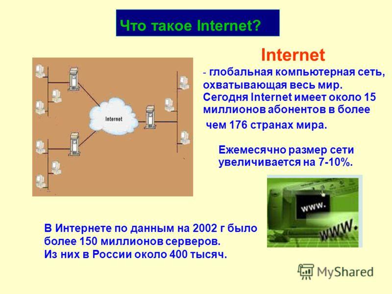 Internet - глобальная компьютерная сеть, охватывающая весь мир. В Интернете по данным на 2002 г было более 150 миллионов серверов. Из них в России около 400 тысяч. Сегодня Internet имеет около 15 миллионов абонентов в более чем 176 странах мира. увел