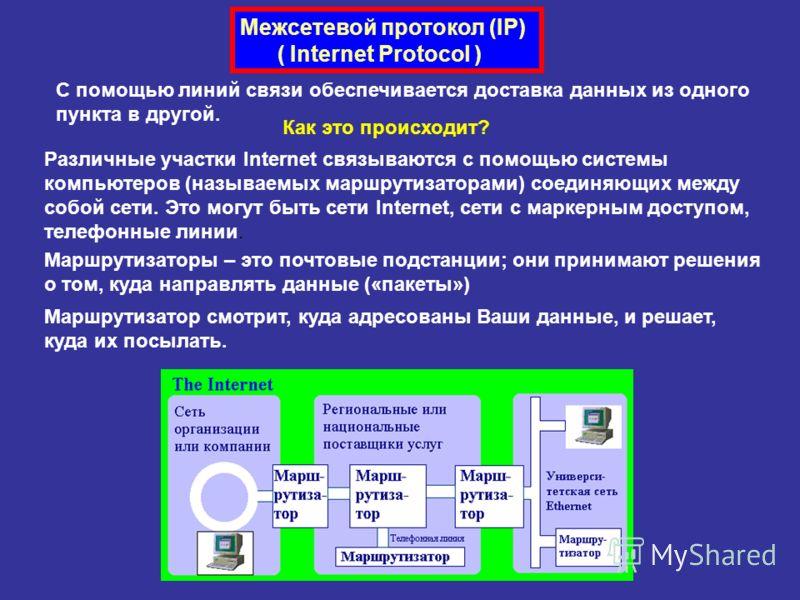 Межсетевой протокол (IP) ( Internet Protocol ) С помощью линий связи обеспечивается доставка данных из одного пункта в другой. Как это происходит? Различные участки Internet связываются с помощью системы компьютеров (называемых маршрутизаторами) соед