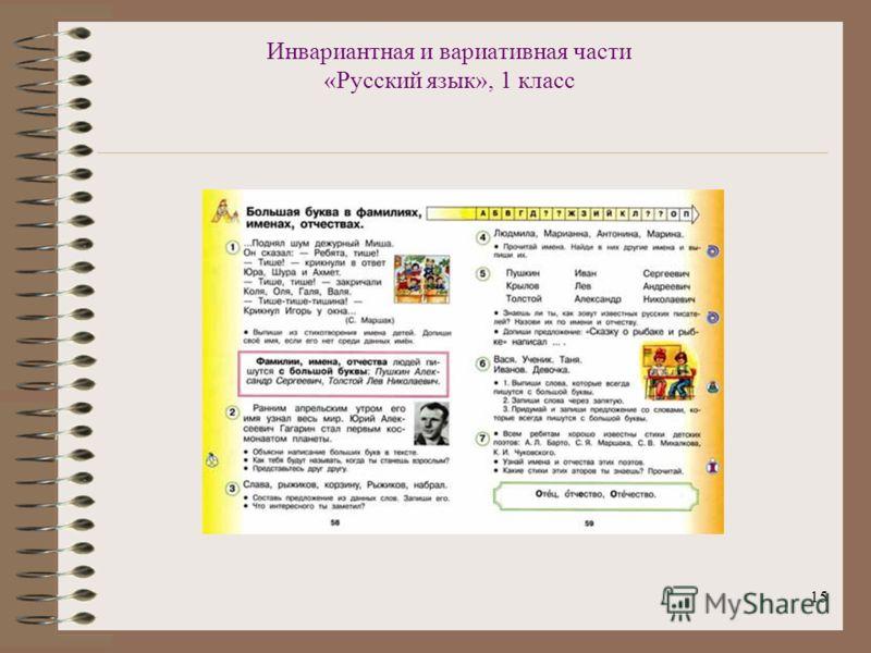 15 Инвариантная и вариативная части «Русский язык», 1 класс