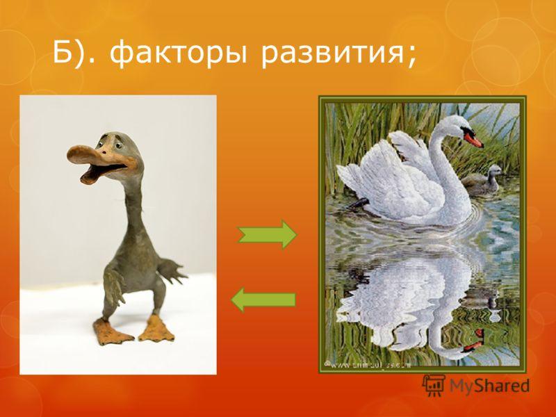 Б). факторы развития;