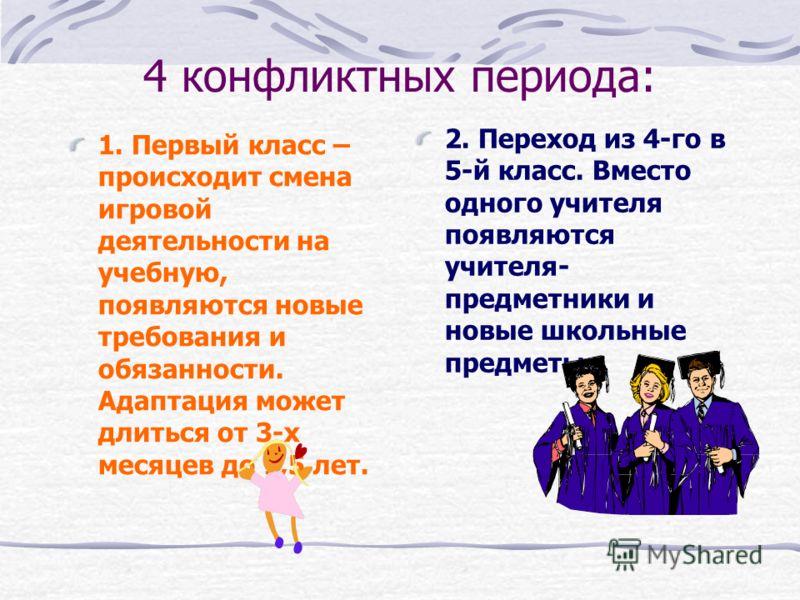 4 конфликтных периода: 1. Первый класс – происходит смена игровой деятельности на учебную, появляются новые требования и обязанности. Адаптация может длиться от 3-х месяцев до 1,5 лет. 2. Переход из 4-го в 5-й класс. Вместо одного учителя появляются