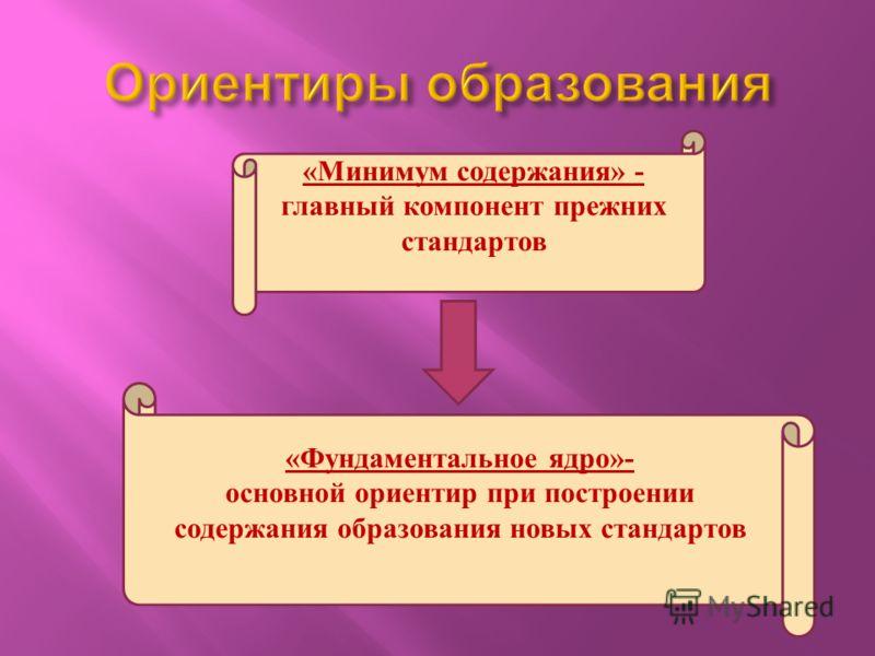 «Минимум содержания» - главный компонент прежних стандартов «Фундаментальное ядро»- основной ориентир при построении содержания образования новых стандартов