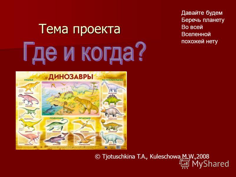 Тема проекта Давайте будем Беречь планету Во всей Вселенной похожей нету © Tjotuschkina T.A., Kuleschowa M.W.,2008