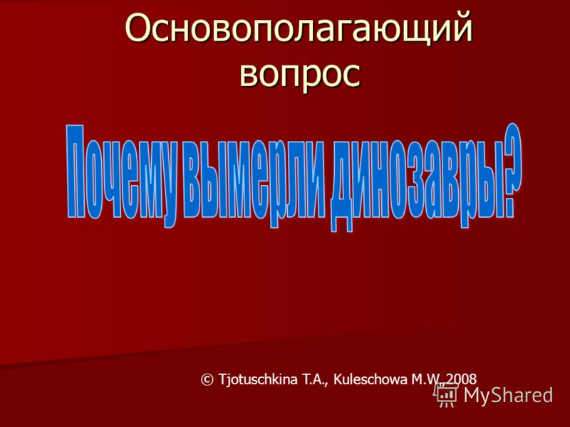Основополагающий вопрос © Tjotuschkina T.A., Kuleschowa M.W.,2008